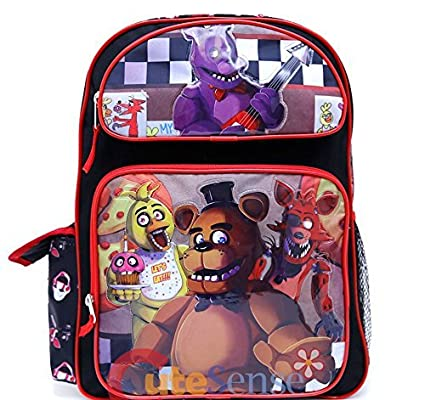 Amazon.com | Five Nights at Freddys Large Backpack 16in Boys School Book Bag -Black Red | Kids Backpacks