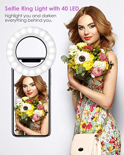 Selfie Ring Light, BlitzWolf Selfie Light with 40 LED & 4 Lighting Modes Rechargeable Clip on Circle LED Light Portable Circle Light for Phone Laptop iPad Photography Video Makeup (Black) 51BnQTf7n1L