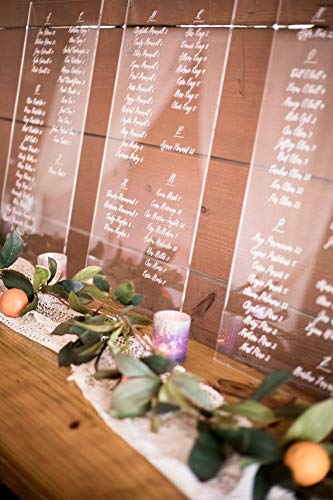 Custom Wedding Seating Chart Signs Clear Painted for Wedding Display, Modern Seating Chart Decoration Signs Clear Acrylic ()