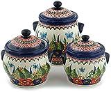 Polish Pottery Set of 3 Jars 8-inch Spring Splendor UNIKAT