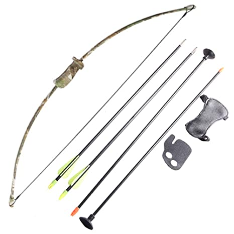 f86681e9bb1 Amazon.com   FlyArchery Camo Recurve Bow Set Bow Arrow Kids Bow Longbow  Children Junior Gift Toy Outdoor Game 4 Arrows Finger Arm Guard   Sports    Outdoors