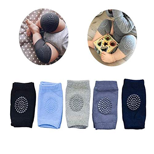 Baby Crawling Anti Slip Knee Pads, Unisex Clothing Accessories Toddler Leg Warmers Safety Protective Cover Toddlers Learn to Socks Children Short Kneepads,5 Pair