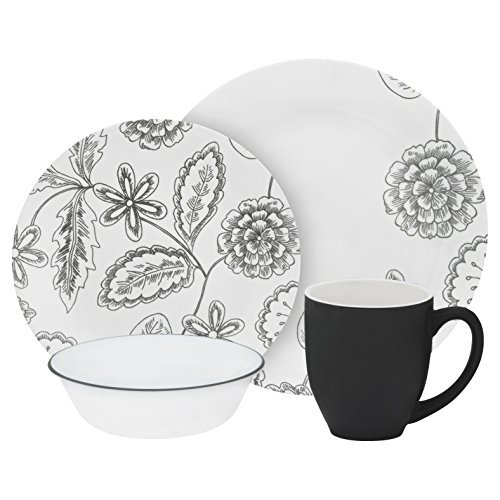 Corelle Vive 16 Piece Glass Reminisce Dinnerware Set, White by CORELLE