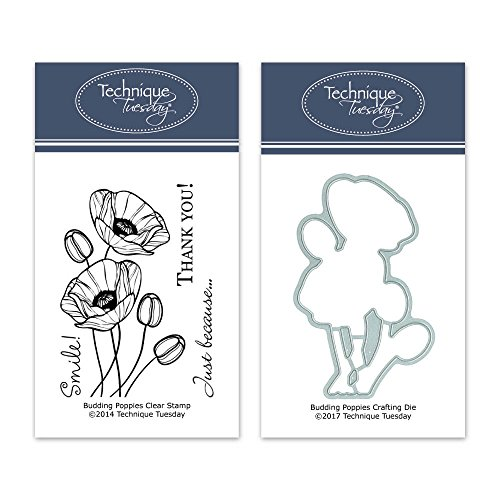 (Budding Poppies Clear Stamps with Matching Metal Dies | Flowers Rubber Stamps | Clear Rubber Stamps | Photopolymer Stamps | Die Cuts | Craft Dies | Card Making Supplies)