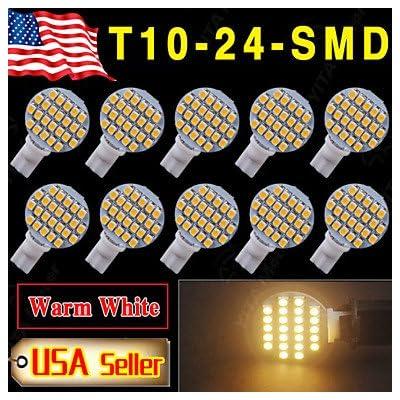 10 x blanc chaud t10 coin rv aménagement paysager 24-SMD ampoules LED W5W lumière 921 168 194 ( 3C_Connection : T10-Blanc-DC12V )