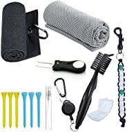 Golf Accessories Gift Set - Microfiber Waffle Pattern Trifold Golf Towel - Golf Club Brush with Groove Cleaner
