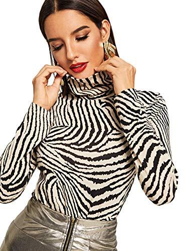SweatyRocks Women's Animal Print Long Sleeve Turtleneck T-Shirt Basic Blouse Tee Top Multicolor #1 L ()