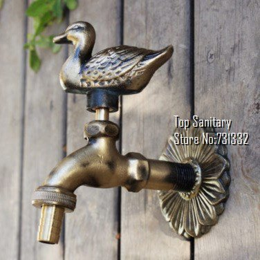 Bibcocks Latest Collection Of Animal Shape Garden Bibcock Rural Style Antique Bronze Duck Tap With Decorative Outdoor Faucet For Garden Washing Low Price Bathroom Fixtures