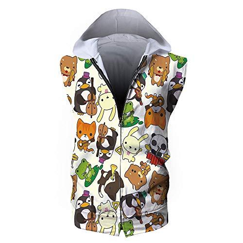 Penguin Jersey Sweater - Men's Waistcoat Casual Hooded,Nursery,Cartoon Style Animal Music Band Penguin on