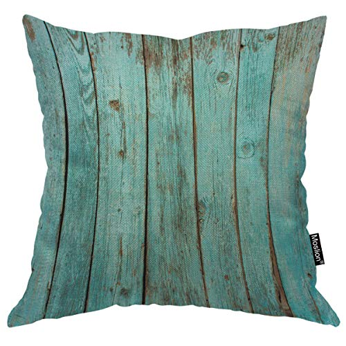 Moslion Throw Pillow Cover Board 18x18 Inch Turquoise Wood Teal Barn Wood Weathered Beach Square Pillow Case Cushion Cover for Home Car Decorative Cotton Linen