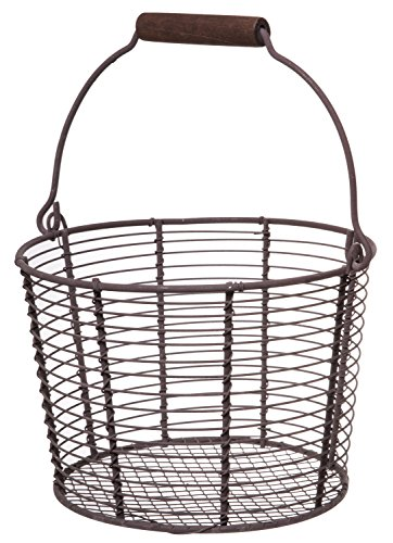 Vintage Metal Wire Pail, Country Rustic Storage and Decorative Basket, Large, 7-inch