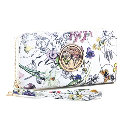 Women Fashion Floral Vegan Leather Wallet Purse for Women Credit Case Wristlet Wallet - State Leather Iphone Case