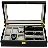 6 Piece Watch Case and 3 Piece Eyeglasses Storage Ebony Wood Combo Jewelry Box Sunglass Glasses Display Organizer
