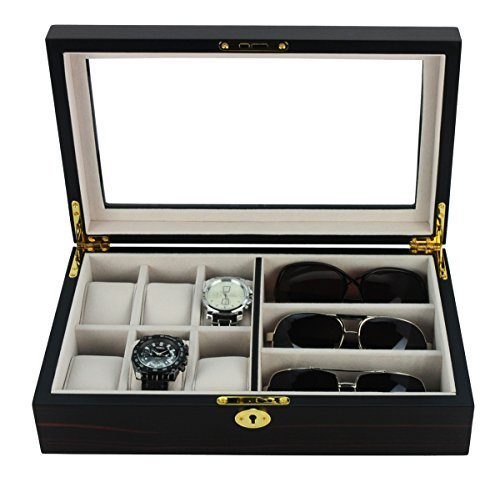 6 Piece Watch Case and 3 Piece Eyeglasses Storage Ebony Wood Combo Jewelry Box Sunglass Glasses Display - Watches Sunglasses
