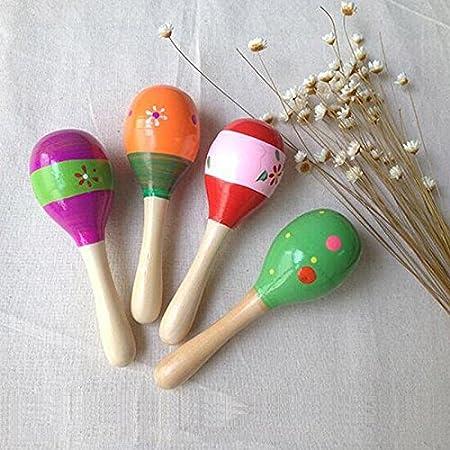 Jingyuu 1pc Maracas Bois Jouet Instrument Musical Ovale Instruments de Musique en Bois pour B/éb/é Enfant Couleur Al/éatoire(12cm,Couleur al/éatoire)