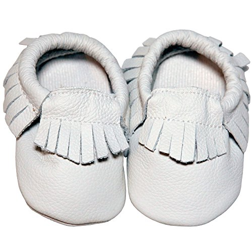 Baby Conda Handmade Ivory / White Baby Moccasins Leather Soft Sole Slip on Baby Shoes for Boys and Girls 100% Size 12 - 18 Months