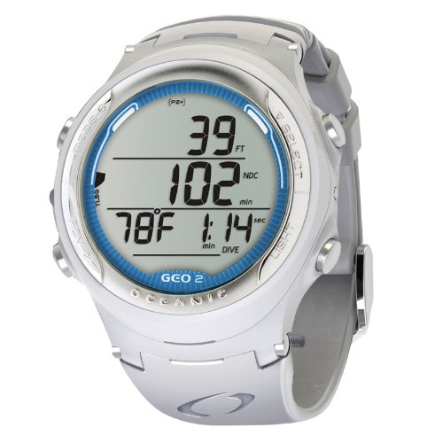Oceanic White Band Geo 2 Scuba Diving Computer (White Blue)