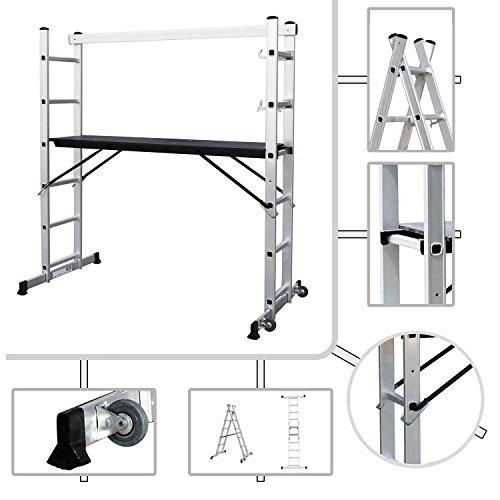 Aluminium Gerüst mit Plattform 147 x 40,5 cm Sotech - maximale Last 150kg - auf Rollen
