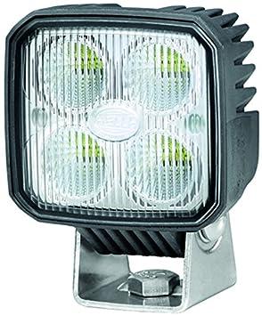 HELLA 1GA 996 284-002 Q90 compact, LED Arbeitsscheinwerfer, Nahfeldausleuchtung, 4  LEDs, 1.000 Lumen, stehender/ hä nger Anbau, wä rmeleitendes Kunstoffgehä use, 12V/ 24V Hella KGaA Hueck & Co.