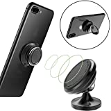 Magnetic Car Mount Holder with Phone Ring Holder, Universal Car Dashboard Mount Stands for iPhone X,iPhone 8/8 Plus, iPhone 7/7 Plus, Samsung Galaxy S8/S8+, HTC, LG, ZTE(BLACK)