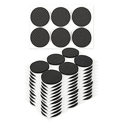 72 Piece Set of Furniture Safety Feet Slider Protector Pads - Round EVA Anti-Slip Adhesive Flooring Pads for Furniture Protection, Black - 1.8 x 1.7 x 0.1 inches