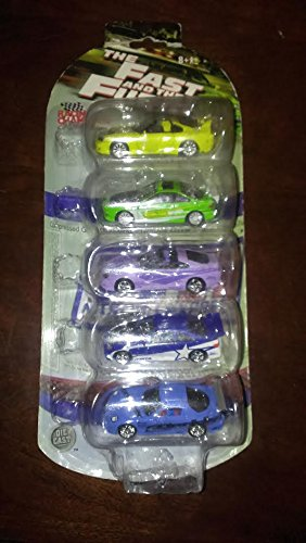 2002 Racing Champions The Fast And The Furious 5 Pack 1995 Mitsubishi Eclipse / 2003 Dodge Viper / NOPI Evolution Racing Car #55 / 1993 Mazda RX-7 / 1995 Honda Civic