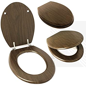 wooden toilet seat hinges. Wooden Toilet Seat in WALNUT  Chrome Plated Metal Bottom Fixing Hinges Easy to Fit