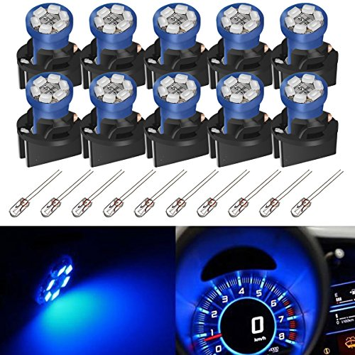Partsam T10 194 LED Light bulb 168 LED Bulbs Bright Instrument Panel Gauge Cluster Dashboard LED Light Bulbs Set 10 T10 LED Bulbs with 10 Twist Lock Socket – Blue(Free - Dash Dodge 2001 Ram