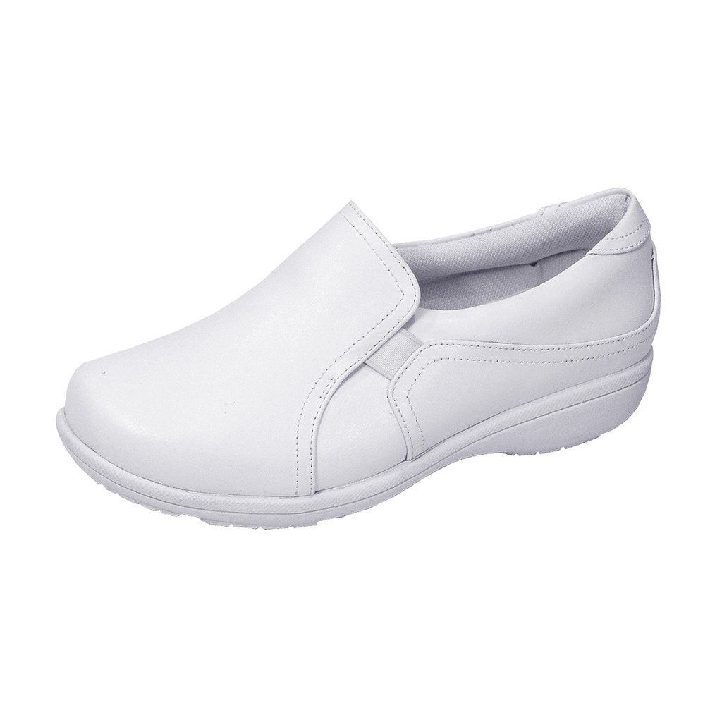 24 Hour Comfort Kerry (1066) Women Extra Wide Width Leather Slip On Shoes White 11 by 24 Hour Comfort