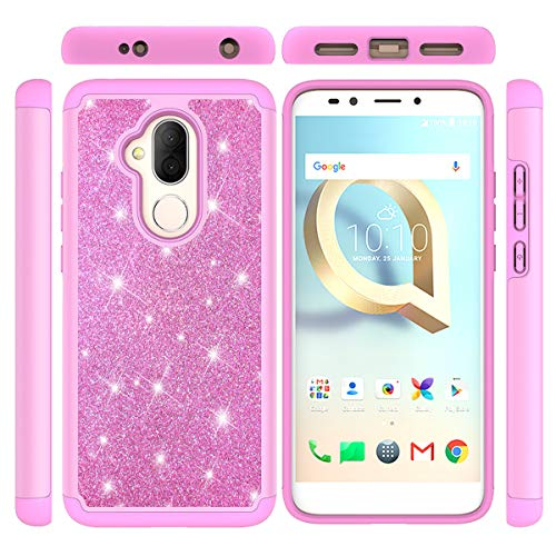 Alcatel 7 Case, Gift_Source Ultra Slim Dual Layer Shockproof 2 in 1 Phone Case Soft TPU Rubber & Glitter Bling Sparkle Hard PC Back Cover Shell for Alcatel 7 (6.0