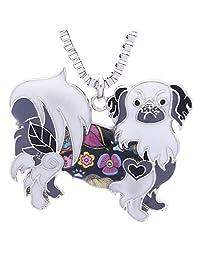 Luckeyui Pekingese Pendants Necklace for Women Birthday Gift Handmade Cute Dog Collection Jewelry