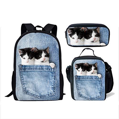 ThiKin 3 Piece Bags Set Contain Cute Denim Cat Backpack Kids Lunch Bag School Pen ()