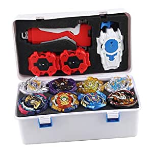 Perfeclan 12pcs Metal Spinning Top 4D Burst Arena Toys Launcher Training Ground, Kids Adults Indoor Outdoor Games, Party Favors
