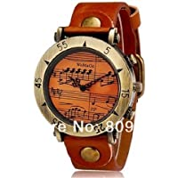 Retro Style Unique Design Music staff Men Women's Vintage Watch PU leather Band - Brown