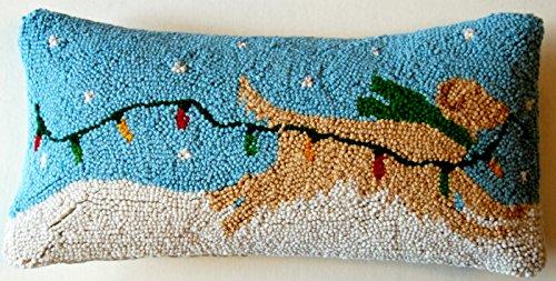 Peking Handicraft Running Golden Retriever Dog Trailing Lights Wool Hooked Christmas Throw Pillow - 8