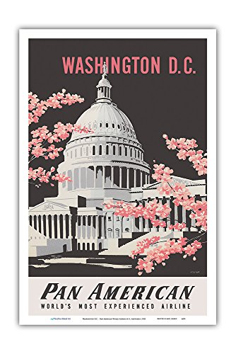 Washington D.C. - Pan American World Airways - United States Capitol Building - Vintage Airline Travel Poster by A. Amspoker c.1955 - Master Art Print - 12in x 18in -