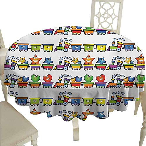 duommhome Nursery Spill-Proof Tablecloth Trains Loaded with Stars Hearts and Smiles Cheerful Happy Locomotive Cartoon Print Easy Care D43 Multicolor