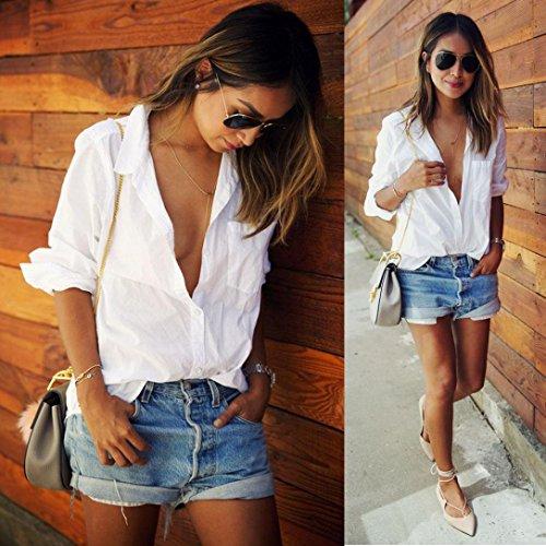 Bekleidung Longra Damen Bluse Langarmshirt locker Größe Tasche Shirts V Neck Tops (weiss, S/M/L/XL)