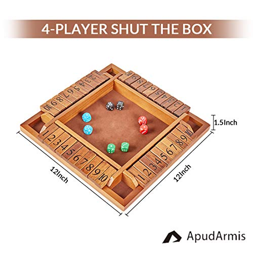 ApudArmis 4-Player Shut The Box, Large Wooden Board Game Set with Dice, 4-Way Play Shut-The-Box for Kids Learning Addtion Adults Classroom Home Party Pub (12 in)