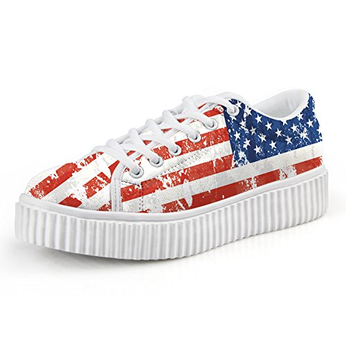 ArtistMixWay American Flag Print Platform Shoes Women's 4th of July Fashion Lace Up Low Top Sneaker,Stars and Stripes,39