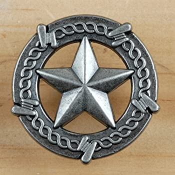 Set of 6 Barbed Wire Lone Star Drawer Pulls Cabinet Knobs