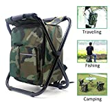 Zology Folding Camping Chair Stool Backpack with Cooler Insulated Picnic Bag, Hiking Camouflage Seat Table Bag Camping Gear for Outdoor Indoor Fishing Travel Beach BBQ