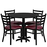 Lancaster Home 36-inch Round Black Laminate Table Set with Four (4) Burgundy Vinyl Seat Ladder Back Metal Chairs
