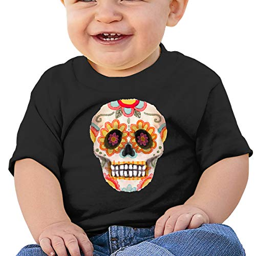 Lixue Sugar Skull Flowers Mexico Mexican Tradition Baby Boys' Toddler Infant Crewneck Short Sleeve Tees ()