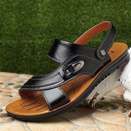 Männer Schuh Breathable echtes Leder Strand Schuh Jugend Sandalen Rindsleder Dual Use Flip Flop Männer Casual Schuhe, schwarz1, UK = 8,5, EU = 42 2/3