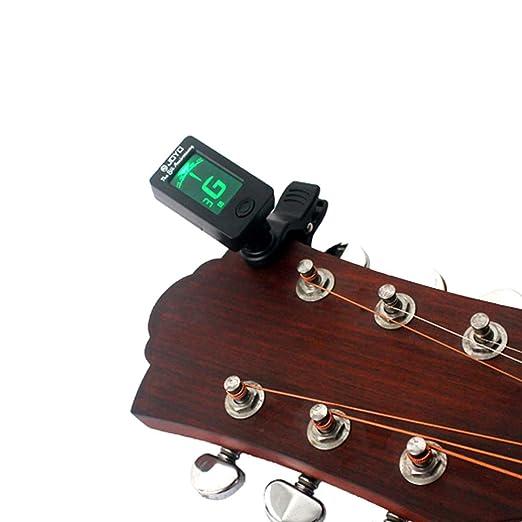 SUPVOX Clip cromático en el afinador electrónico de guitarra 360 grados giratorio mini sintonizador digital Capo para guitarra cromática Bass Violin Ukulele ...