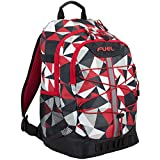 Fuel Terra Sport Spacious School Backpack with Front Bungee, Red Geo