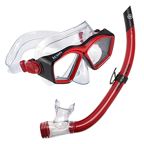 U.S. Divers Icon Mask and Airent Snorkel, Red