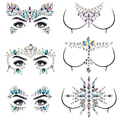 Tattoo Rhinestone Body - 6 Sets Mermaid Face Jewels Gems Festival Face Rhinestone Eyes Breast Body Gems Tattoos Crystal Glitter Chest Forehead Face Diamond Stickers For Women Girls