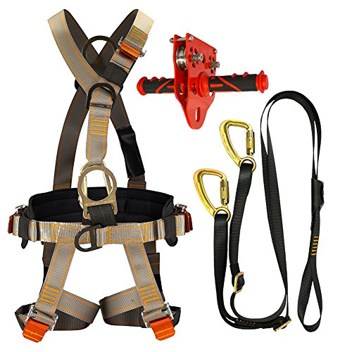 Fusion Climb Pro Backyard Zip Line Kit Harness Lanyard Trolley Bundle FK-A-HLT-37